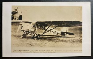 Mint India RPPC Real Picture Postcard Early Aviation First Airmail To Madras