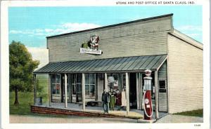SANTA CLAUS, IN Indiana  STORE,  POST OFFICE  Gas Pump c1930s Roadside  Postcard