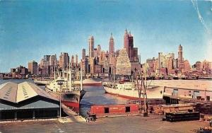 USA Skyline of Lower Manhattan, New York City, Harbour Ship Boats Panorama