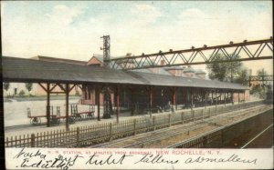 New Rochelle NY RR Train Station Depot c1910 Used Postcard