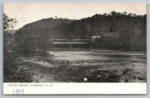 Alderson West Virginia~Multi Span Thru Truss County Bridge~1907 B&W Postcard