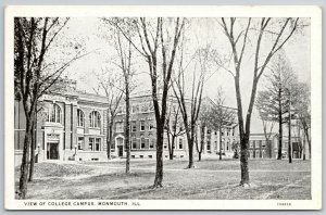 Monmouth College Illinois~View of Campus in Winter~Barren Trees~1920s Postcard