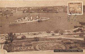 HMS Sirius British Navy Light Cruiser Warship Grand Harbour Malta 1948postcard