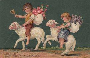 EASTER, PU-1907; Children riding sheep, egg shells, flowers, bell, PFB 7482
