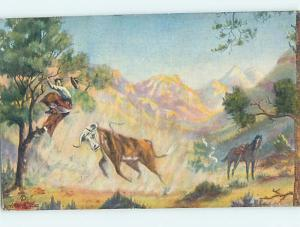 Linen POSTCARD OF WESTERN PAINTING AT MUSEUM hr1444