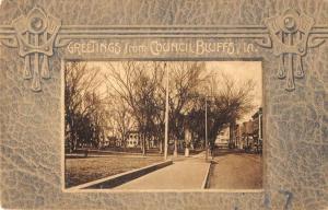 Council Bluffs Iowa Street Scene Greeting Antique Postcard K83058