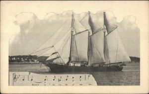 Tall Schooner Ship & Sheet Music Casco Bay? c1910 Postcard