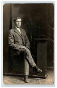 Postcard Spokane, WA Vintage Phelps - Man Sitting Portrait CYKO 1906-15 RPPC H6
