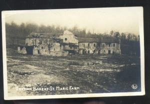 RPPC WWI BATTLE ACTION ST. MARIE FARM GERMAN BAKERY REAL PHOTO POSTCARD