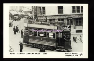 pp2405 - Suffolk - Ipswich Tramcar No.20 to Railway Stn. c1921 - Pamlin postcard