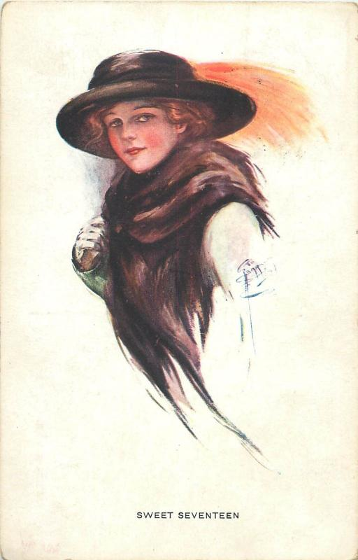 Postcard early 1910s Signed Court Barber Sweet Seventeen charm of youth hat