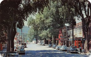 Main Street Business District Drug Store Cars Middleburgh New York postcard