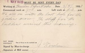 Hendon Paper Works Sunderland Ladders Manchester Foreman Workers Old Postcard
