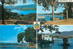Postcard Spain multi view banolas boat flag castle bridge panoramic sign