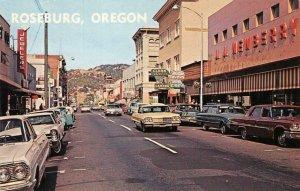 ROSEBURG, OR Street Scene Oregon J.J. Newberry c1960s Chrome Vintage Postcard