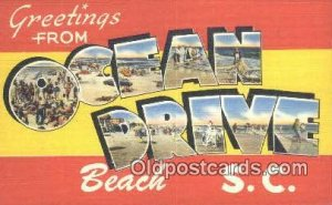Ocean Drive Beach, SC USA Large Letter Town Unused