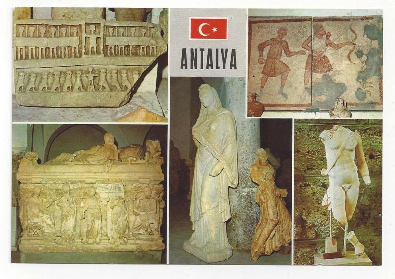 Turkey Antalya Multiview Ancient Art Statues 4X6 Postcard