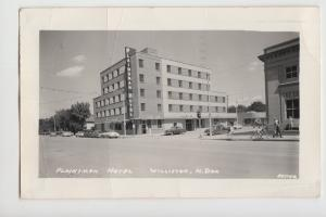 North Dakota ND Real Photo RPPC Postcard WILLISTON Plainsman Hotel Cars