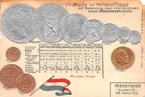 Coin Postcard, Old Vintage Antique Niederlande
