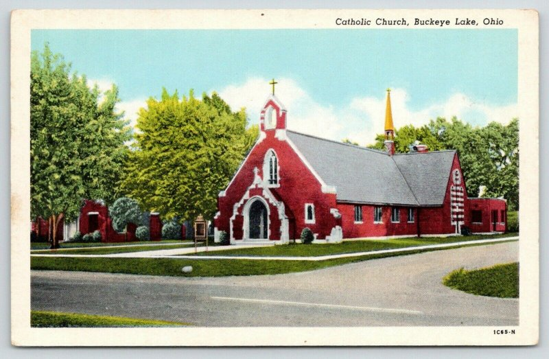 Buckeye Lake Ohio~Catholic Church~Golden Steeple~Sign in Front~1940s