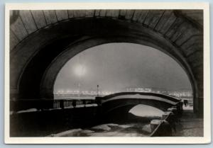 1955 LENINGRAD Winter bridge Architecture RPPC Soviet USSR Postcard