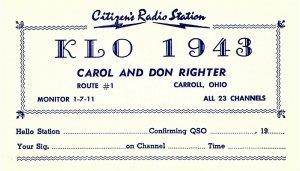 Vintage QSL Postcard  KLO 1943  Carroll, Ohio   Carol & Don Righter  -T-