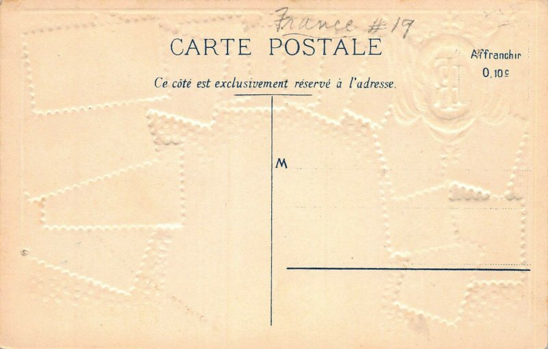 France Stamps on Early Embossed Postcard, Unused, Published by Ottmar Zieher