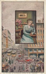ADV: Heart of the Shopping District by BELL TELEPHONE, PU-1919; Woman on phone