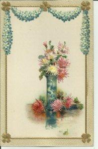Flower Vase Embossed DB postcard  carte postale postkarte Made in Germany