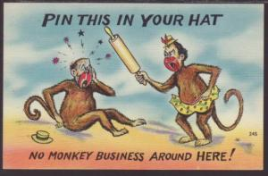 No Monkey Business Around Here,Comic Postcard