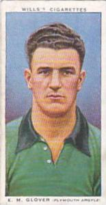 Wills Vintage Cigarette Card Association Footballers No 20 E M Glover Plymout...