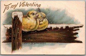 Vintage VALENTINE'S DAY Embossed Postcard Birds on Snowy Fence / 1908 Cancel