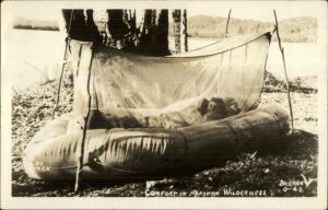Alaska Camper Raft as Shelter Survival Camping Wilderness Real Photo Postcard