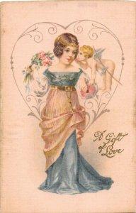 F99/ Valentine's Day Love Holiday Postcard c1910 SILK Pretty Girl Cupid 23