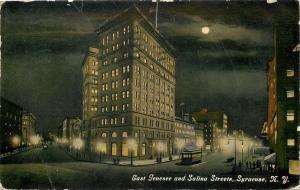 Syracuse New York~East Genesee & Salina Streets~Night Lights~Moon~Trolley~1912