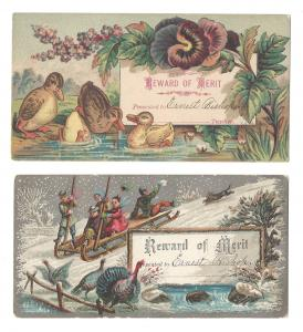 Victorian 2 Reward of Merit Cards Ducks Turkeys Sled Ernest Bishop Chromo Litho