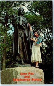 North Dakota, ND    Indian Princess JUNE FOX & SAKAKAWEA STATUE  c1950s Postcard