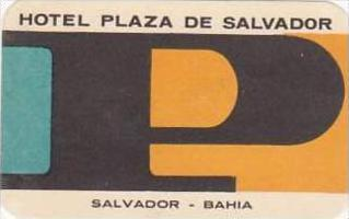 EL SALVADOR BAHIA HOTEL PLAZA DE SALVADOR VINTAGE LUGGAGE LABEL