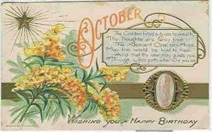 pc6465 postcard Birthday Birth Stone Opal October Postally used 1908