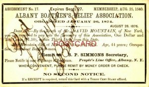 AUGUST 28, 1876 By the Death of Mr DAVID MOUNTAIN- ALBANY BOATMEN'S RELIEF ASSOC