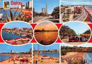 Spain Costa Dorada Salou Beach Boats Harbour Sunset Postcard