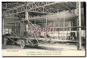 Old Postcard Aviation Wilbur Wright L airplane is mounted on a trailer