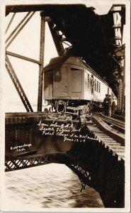 GNR Train Accident New Westminster BC c1909 Barrowclough RPPC Postcard F68
