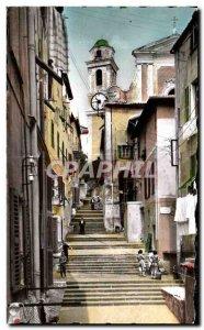 Old Postcard The Cote d Azur Villefranche Sur Mer Old Street