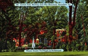 Pennsylvania Honesdale Central Park Showing Civil War Monument Wayne County C...