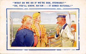 WHAT DO WE DO IF WE'RE SICK, STEWARD?.IT COMES NATURAL!  BAMFORTH COMIC POSTCARD