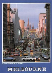 Australia Melbourne Bourke Street Mall at Twilight Voitures Cars Auto