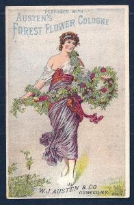 VICTORIAN TRADE CARD Austens Flower Cologne