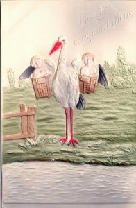 Stork Hearty Congratulations Airbrushed EMBOSSED Postcard Vintage - PC BASKETS