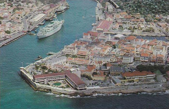 Aerial View of Curaco Hotel, Netherlands Antilles, 1940-1960s